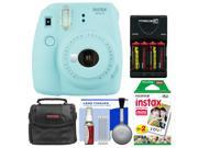 Fujifilm Instax Mini 9 Instant Film Camera (Ice Blue) with 20 Twin Color Prints + Case + Batteries & Charger + Cleaning Kit