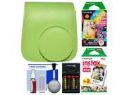 Fujifilm Groovy Case for Instax Mini 9 Instant Camera (Lime Green) with 20 Twin & 10 Rainbow Prints + (4) Batteries & Charger + Cleaning Kit