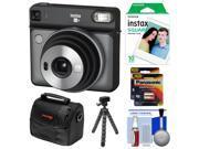 Fujifilm Instax Square SQ6 Instant Film Camera (Graphite Gray) with 10 Prints + Case + Tripod + Batteries Kit