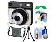 Fujifilm Instax Square SQ6 Instant Film Camera (Pearl White) with 10 Prints + Case + Tripod + Kit