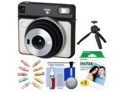 Fujifilm Instax Square SQ6 Instant Film Camera (Pearl White) with 20 Prints + Wood Pegs + Tripod + Kit
