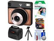 Fujifilm Instax Square SQ6 Instant Film Camera (Blush Gold) with 10 Prints + Case + Tripod + Batteries Kit