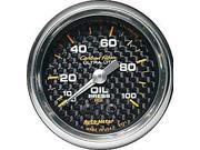 Auto Meter Carbon Fiber Mechanical Oil Pressure Gauge