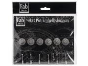 Silver Pin Embellishments 6/Pkg-Filigree