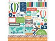 "Travel Stories Cardstock Stickers 12""X12""-"