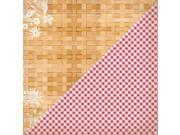 """Image of Cheerful Double-Sided Cardstock 12""""X12""""-One, Floral Basket Weave/Checkered Cloth"""