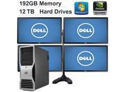 """192GB Ram Dell Precision T7500 Workstation with 4 Brand New 24"""" inch Dell Monitors, 2 x Intel Six Core Xeon 3.33GHz, *NEW* 12TB 7200RPM.(RAID 0 Configured) NVIDIA GeForce GT 630 Graphics Card 4GB DDR3"""