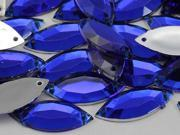 20x9mm Blue Sapphire CH09  Navette Flat Back Sew On Beads for Crafts - 50 Pieces