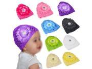 New 8pcs Colorful Crochet Baby Flower Beanie Waffle Hats Set for Baby Girls