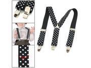 WhiteDots Prints BlackElastic Webbing Y Back Suspender Pants Braces for Children