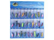 30 Pcs Metal Fishing Lure Minnow Poper Pike Salmon Baits Bass Trout Fish Hooks