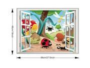 New Window 3D View Cartoon Insect Wall Decal Stickers Kids Room Decor Wallpaper 9SIV15G65T1239