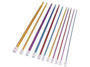 11pcs 10.6″ Multicolour Aluminum Crochet Hook Knit Needles Set 2-8mm