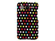 Hard Snap on Plastic RUBBERIZED With RAINBOW DOTS POLKA Design Sleeve Faceplate Cover Case for HTC INSPIRE 4G () & HTC Desire HD