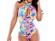 New Sexy Floral Print Vintage Swimwear Halter Backless Bathing Suit for Women One Piece Swimsuit-M 9SIA67040E7084