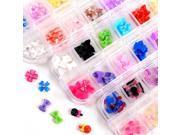 3x 3D box decoration rhinestone glitter nail jewelry knot lollipop