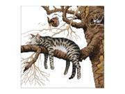 SODIAL DIY Hand Knitting Count Cross Stitch Set Embroidery Set 14CT Cat tree branch Pattern Cross Stitch 36 * 36cm Home Decoration 9SIA6706Y82003