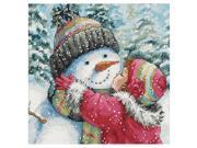 SODIAL Counted Cross Stitch kits, A Kiss For Snowman 9SIA6706YA0298