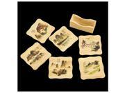 SODIAL 6 Pcs Chinese Calligraphy Paintings Pattern Bamboo Coasters Cup Mats with Holder 9SIA6706Y99789