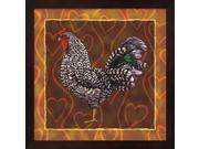 Rooster 3 by Jeff Maraska Framed Art, Size 13.25 X 13.25
