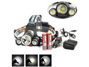 New Boruit 5000Lm 3X XM-L T6+2R5 LED Headlamp Head Light 18650+AC/Car Charger FM