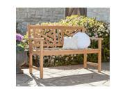 Delaware Teak Chippendale 4' Bench - Unstained