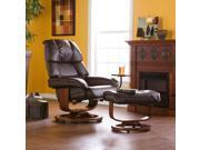 Iseo Bonded Leather Recliner & Ottoman - Coffee Brown