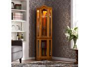 Vaglia Lighted Corner Curio Cabinet - Golden Oak