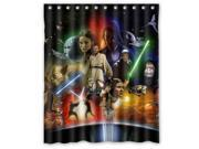 """Star Wars R2-D2 Han Solo Yoda Darth Vader Pattern Polyester Fabric Shower Curtain, 60"""" By 72"""""""