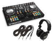 Native Instruments Traktor Kontrol S4 MK2 DJ Controller Tascam DJ Headphone TH02 2 1 4 cables 18ft ea