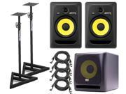 KRK RP8G3-NA Rokit 8 Generation 3 Powered Studio Monitor (Pair) + KRK K10S Powered Subwoofer - 10 Inch, 225 Watts + Samson SAMS200 (Pair) + (4) XLR Cables 18ft