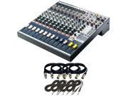 Soundcraft EFX8 8 Channel Mixer with 24 bit Lexicon Digital Effects. With 4 XLR Cables and 4 TRS.