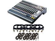 Soundcraft EFX12 12-Channel Audio Mixer. With 6 XLR Cables and 6 TRS Cables.