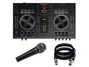 Denon DJ MC4000 2 Ch 2 Deck Serato DJ Controller New. W NOVIK MIC and 2 XLR Cables.