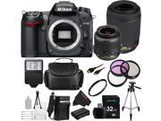 Nikon D7000 16.2MP CMOS Digital SLR Camera with Nikon 18-55mm VR Lens + Nikon 55-200mm f/4-5.6G ED IF AF-S DX VR [Vibration Reduction] Nikkor Zoom Lens + 32GB Pixi-Essential Accessory Bundle