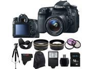 Canon EOS 70D 20.2MP Digital SLR Camera with 18-55mm STM Lens + Pixi-Advanced Accessory Bundle