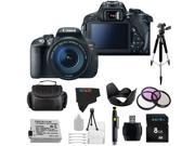 Canon EOS Rebel 700D / T5i 18MP Digital SLR Camera with 18-135mm STM Lens + Pixi-Basic Accessory Bundle