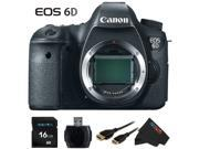 Canon EOS 6D 20.2 MP CMOS Digital SLR Camera with 3.0-Inch LCD (Body Only) + Pixi-Basic 16GB Accessory Bundle Kit