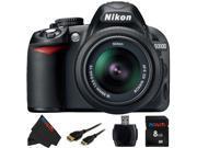 Nikon D3100 DSLR Camera with 18-55mm f/3.5-5.6 AF-S Nikkor Zoom Lens + 8GB Pixi-Basic Accessory Bundle