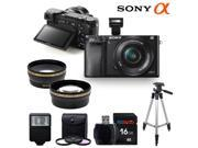 Sony Alpha a6000 ILCE6000 Interchangeable Lens Camera with 16-50mm Power Zoom Lens + Pixi-Basic Accessory Bundle
