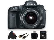 Canon EOS 7D Mark II DSLR Camera W/ Canon EF-S 18-55mm f/3.5-5.6 IS STM Lens + 16GB Pixi-Basic Accessory Bundle