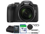 Nikon COOLPIX P610 Digital Camera with 60x Optical Zoom and Built-In Wi-Fi (Black) + Pixi-16GB Accessories Bundle