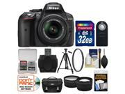 Nikon D5300 Digital SLR Camera & 18-55mm VR DX II AF-S Lens (Black) with 32GB Card + Case + Tripod + Filter + Remote + Tele/Wide Lens Kit