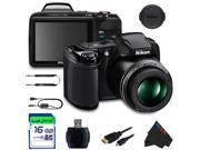 Nikon COOLPIX L340 Digital Camera (Black) + 16GB Pixi-Basic Accessory Bundle