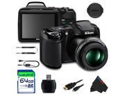 Nikon COOLPIX L340 Digital Camera (Black) + 64GB Pixi-Basic Accessory Bundle