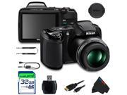 Nikon COOLPIX L340 Digital Camera (Black) +32GB Pixi-Basic Accessory Bundle
