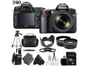 Nikon D90 12.3MP DX-Format CMOS Digital SLR Camera with 18-105 mm f/3.5-5.6G ED AF-S VR DX Nikkor Zoom Lens + Pixi-Advanced 16GB Accessory Bundle