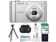 Sony Cyber-shot DSC-W800 Digital Camera (Silver) + 64GB Pixi-Advanced I3ePro Accessory Bundle