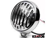 "Krator 6"""" Chrome Motorcycle Headlight with Grill High Low Beam Headlamp Bottom Mount for Kawasaki VN Vulcan Classic Drifter 800"" 9SIABK75HZ4603"