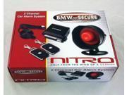NITRO BMW-SECURE 2-Channel Car Alarm System w/ 2 Remote Control (Black) - New